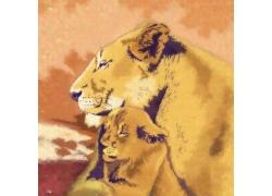 油画中拥抱的狮子图片