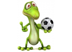 拿着足球的恐龙