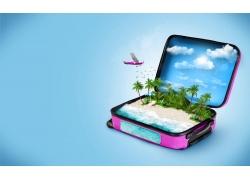 行李箱里的沙滩图片