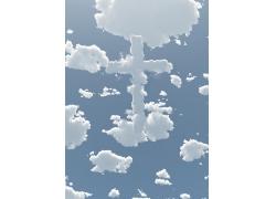 蓝天与白云十字架