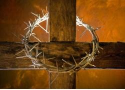 木头十字架上的荆棘圆环