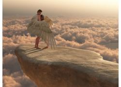 悬崖上带翅膀的男人和女人