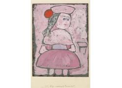 粉色小女孩绘画图片