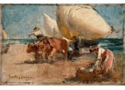 海边的人物绘画