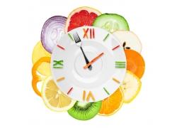 时间钟表与蔬菜水果