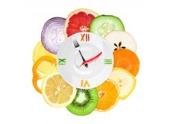 盘子蔬菜水果时间钟表