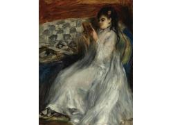 沙发上看书的女人图片