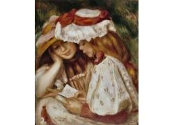 一起看书的两个女孩图片