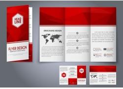 红色几何图形三折页宣传册图片