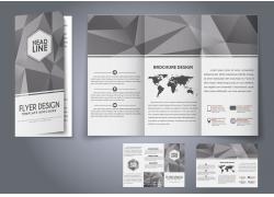 灰色几何图形三折页宣传册图片