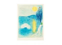水边太阳和人物绘画