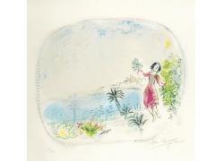 水边女孩绘画图片