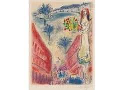 建筑和女人花朵油画