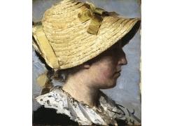 戴草帽的女孩油画图片