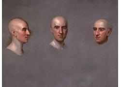 三个角度的人物头像油画