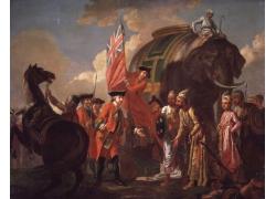 拿着英国国旗的人物绘画