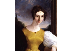 黄色裙子欧洲女人油画图片
