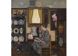 房间里看书的女人油画图片