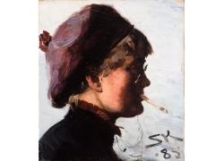 抽烟女人侧脸油画