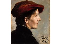 戴帽子女人侧脸油画