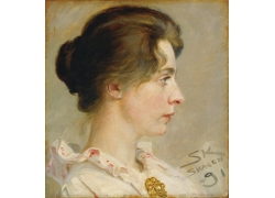 女人侧脸油画