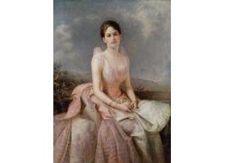 白色扇子美丽女人油画图片
