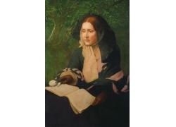 树下看书的女人油画图片