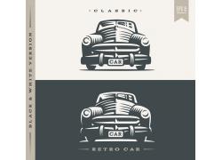 老式汽车插画logo设计