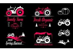 拖拉机插画logo设计