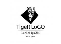 卡通老虎插画logo设计