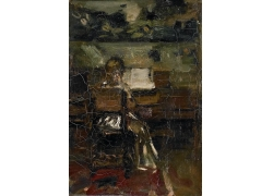 书桌前的女孩油画图片