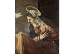 低头看书的女人油画图片