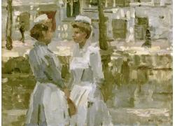河边的两个女孩油画图片