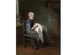 缝衣服的女孩油画图片