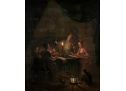 夜晚看书的女人油画图片