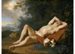 睡着的人物和小狗油画