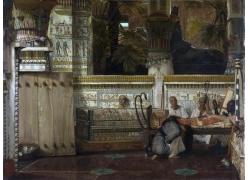 桌边的光头人物油画