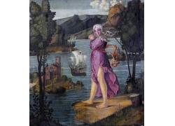 水边的女孩油画图片
