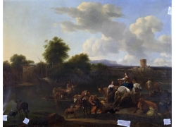 路边人物和马匹油画