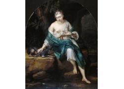 漏乳女人和狗油画