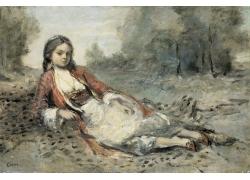 路边的女孩油画图片