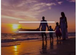 海边家人和方块图片