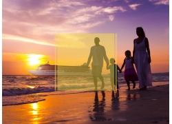海边家人和黄框图片