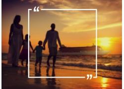 海边家人和文字说明框图片