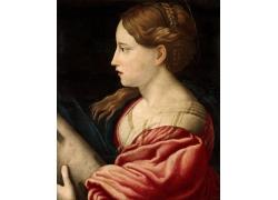 欧洲女人侧脸油画