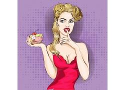 捧着蛋糕的性感美女插画
