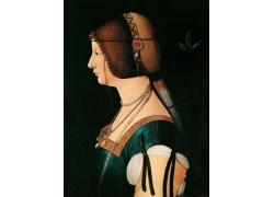古代欧洲女人侧脸油画