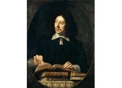 翻书的男人油画