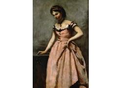 提着裙子的女孩油画图片