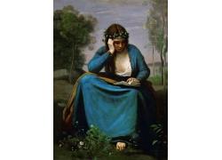 认真看书的女人油画图片